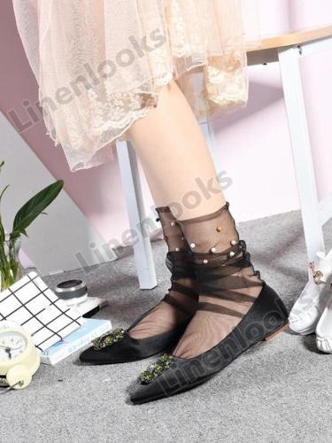 Fashion Fairy Tulle Stockings Handmade Beaded Mesh Loose Stockings