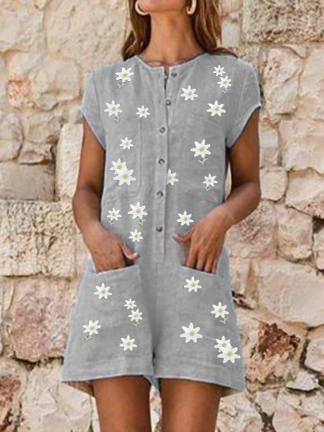 Gray Floral Holiday Crew Neck Printed One-Pieces