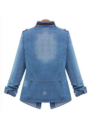 Casual Pockets Denim Stand Collar Causal Coats