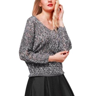 Hollow Sweater Women's Thin Loose V-neck Bat Sleeve Pullover Sweater Blouse Womens Sweater Pullovers