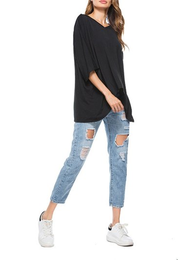 V-Neck Cotton-blend Solid Casual T-Shirt