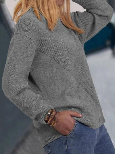 Woman Plus Size Round Neck Cotton-Blend Long Sleeve Sweater