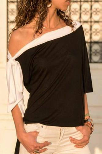 One Shoulder Solid Paneled Casual T-shirts