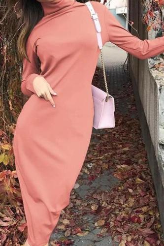 Casual High Collar Pure Colour Bodycon Dresses