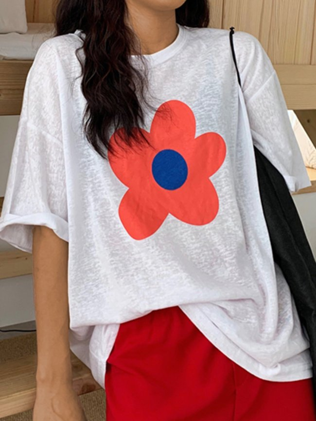 Fun Small Flower Floral Loose Cotton Short Sleeve Round Neck Casual T-shirt Tops
