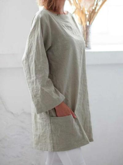 Apricot Crew Neck Casual Long Sleeve Shirts & Tops