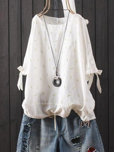 Cotton-Blend Short Sleeve Floral Casual Shirts & Tops