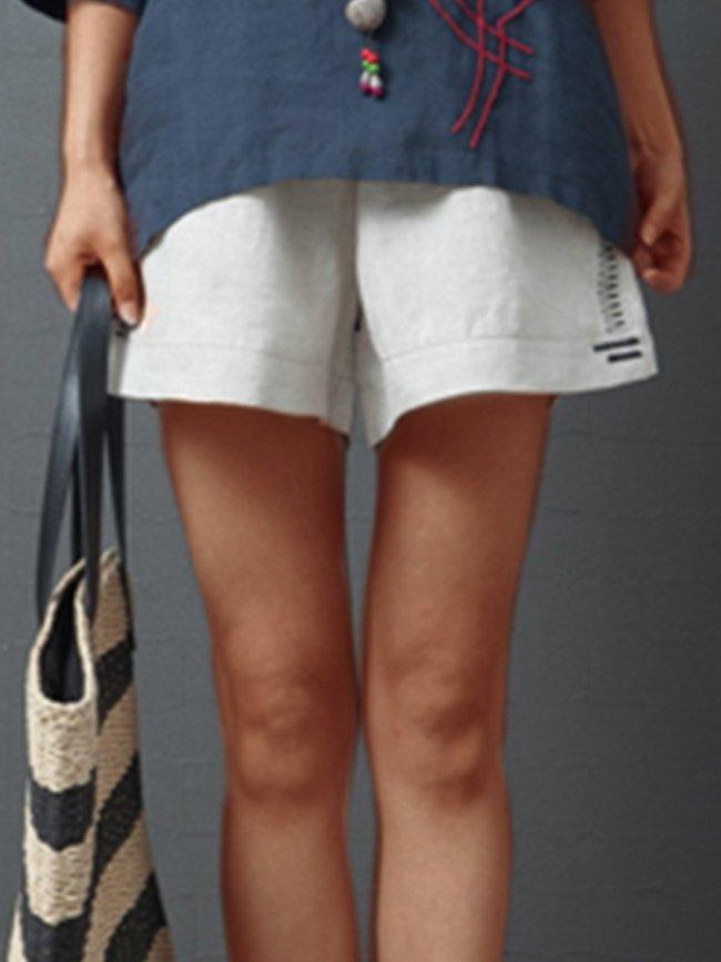 Plus Size Women Plain Casual Shorts