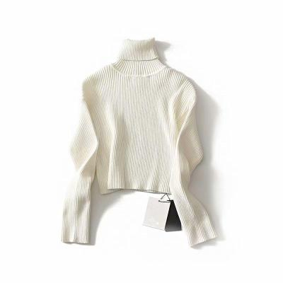 Casual Sexy High Collar Short Style Pure Color Knit Sweater Blouse