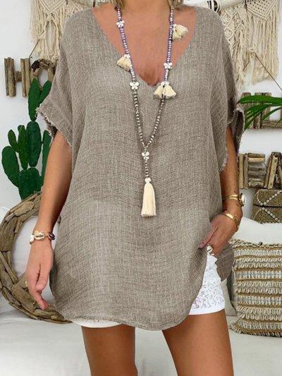 Short Sleeve Plain Shirts & Tops