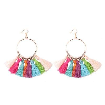 Bohemia Style Colorful Thread Tassel Pendants Big Round Hoop Earring