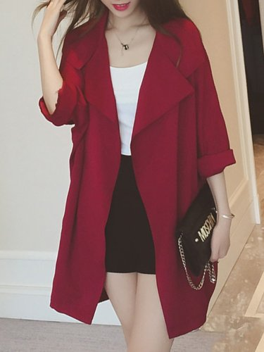 Shawl Collar Pockets Long Sleeve Solid Coat
