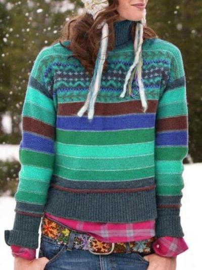 Color-Block Striped Casual Turtleneck Women's Sweaters