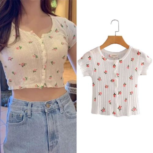 Candy Color Women Cute Print T Shirt Sexy Short Sleeve Summer Knit Tops