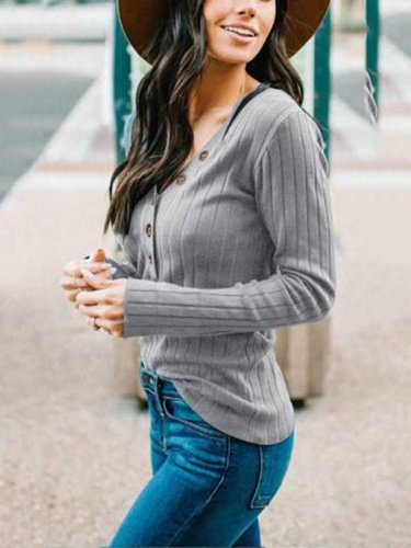 V Neck Casual Buttoned Solid Sweatershirt
