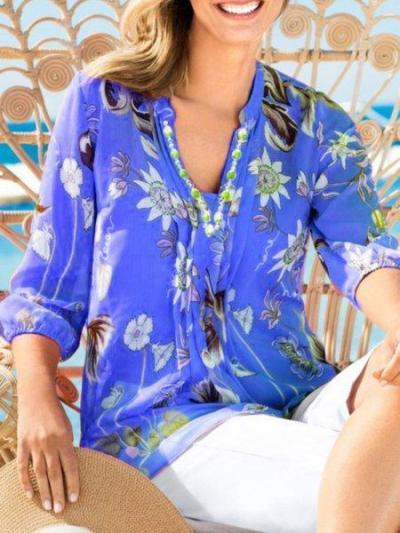 Printed 3/4 Sleeve Cotton-Blend V Neck Shirts & Tops