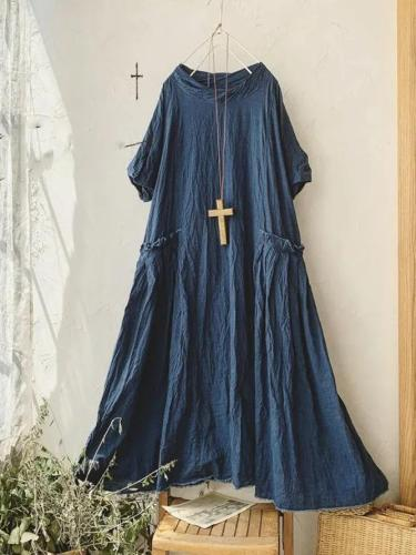 Blue Pockets Casual Linen Maxi Dresses