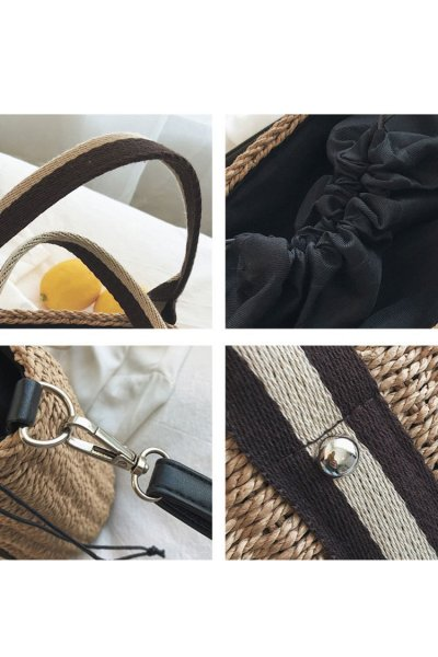 Women's Beach Pull Rope Woven Straw Sling Bag Handbag