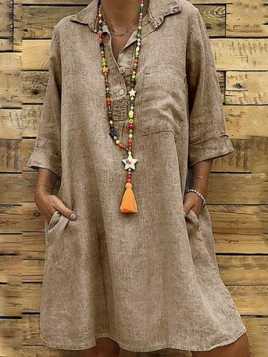 Half Sleeve Casual Linen Maxi Dresses