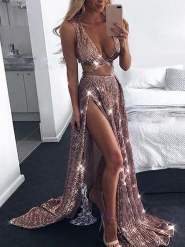 Sexy Deep V Split Gold Silk Sling Evening Dress