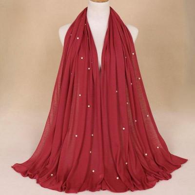 Fashion Muslim Islamic Solid Color Long Hijab Scarf Shawl Mix Spinning Fabric National Female Head Scarf Nail Pearl Hoods Hijab
