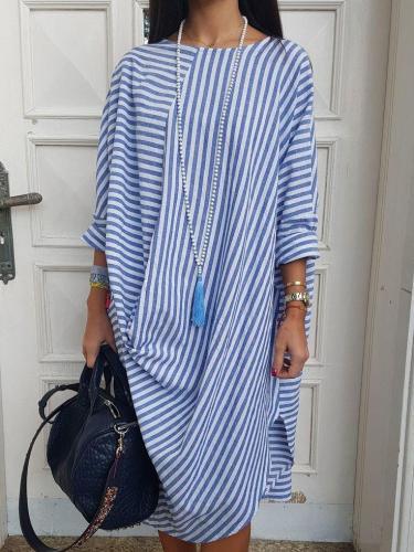 Round Neck Cotton-Blend 3/4 Sleeve Dresses