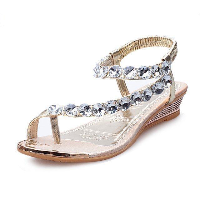 Rhinestone Sandals Shoes Women Summer Flip Flop Flat Sandals