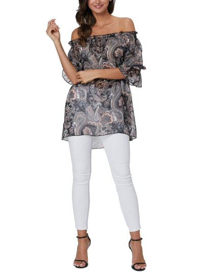 As Picture Half Sleeve Chiffon Shirts & Tops
