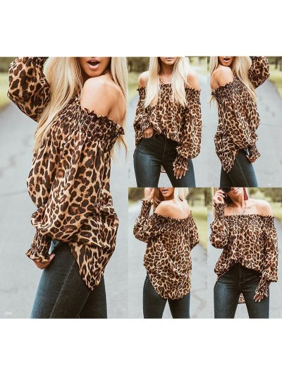 Long Sleeve Off Shoulder Leopard Print Gathered Blouse & Shirts