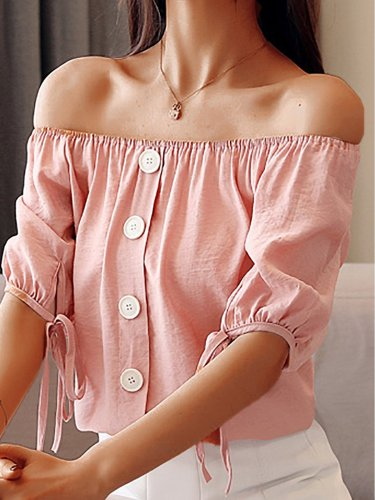 Plus Size Women Short  Sleeve  Off Shoulder  Solid   Casual  Tops