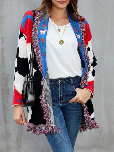 Red Shawl Collar Fringed Embroidered Cardigan