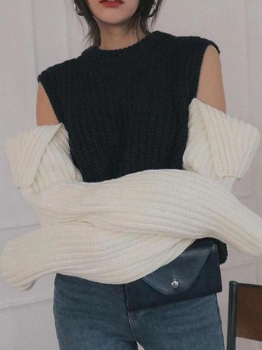 Fashion Color Block Patchwork Sweater
