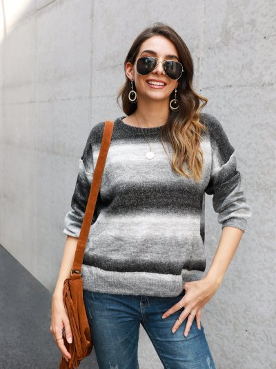 Color-Block Long Sleeve Crew Neck Work Sweaters