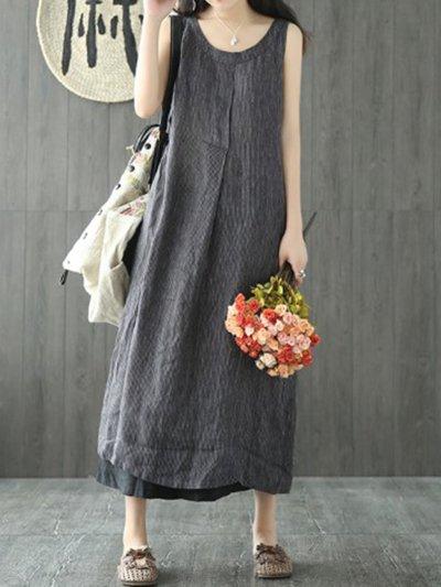 Linen Maxi Dress Plus Size  Crew Neck Shift Sleeveless Casual