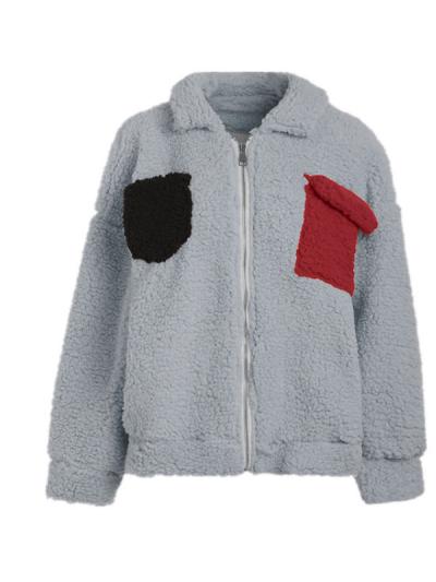 Paneled Special  Pockets Long Sleeve Casual Coat