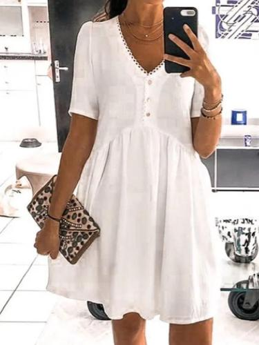 White Cotton Short Sleeve Dresses