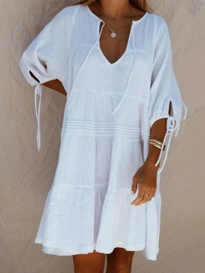 White Guipure Lace Short Sleeve Casual Mini Dress