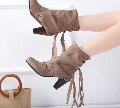 Women Plus Size High Heel Daily Faux Suede Applique Boot