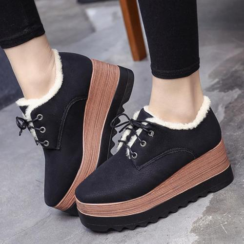 Wedge Heel Lace-Up Spring/fall Loafers