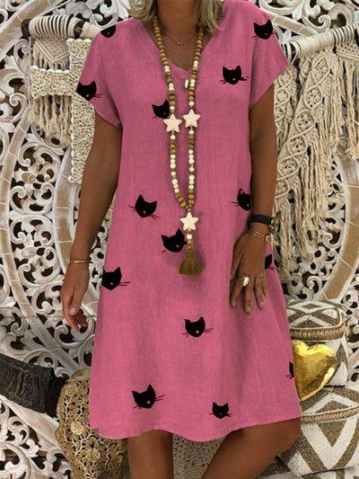 V Neck Short Sleeve Summer Dresses