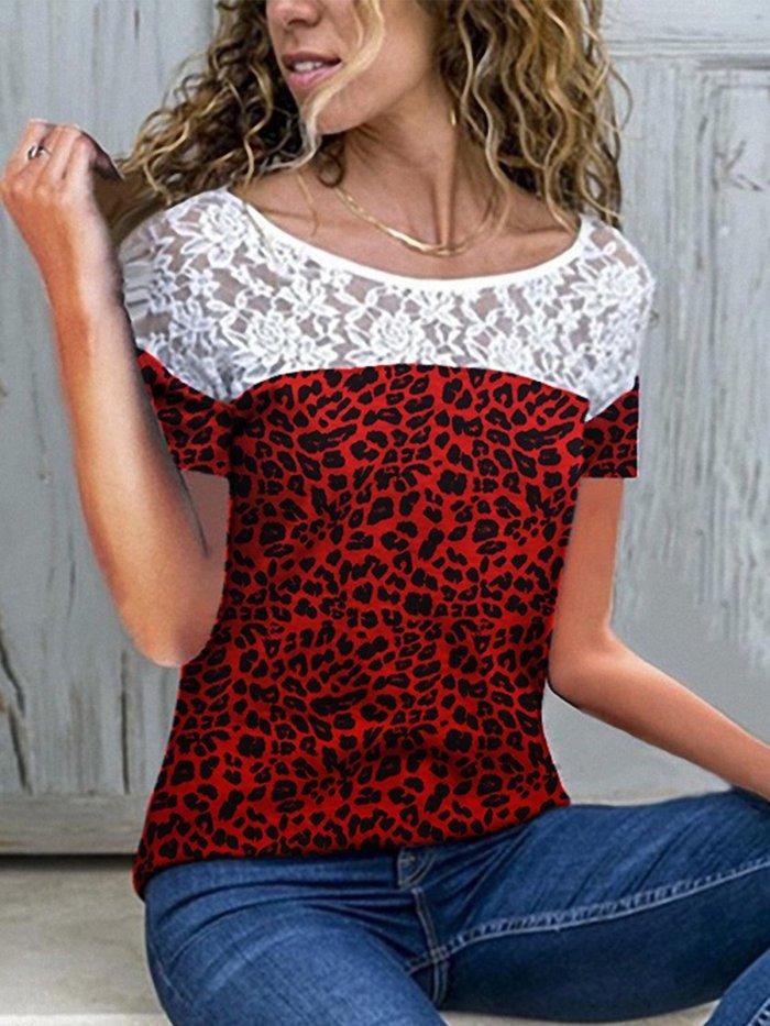 Short Sleeve Patchwork Shirts & Tops