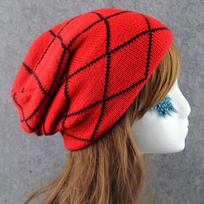 Winter Stripe Knitted Caps  Beanies Acylic Sleeve Warm Hats For Women And Men
