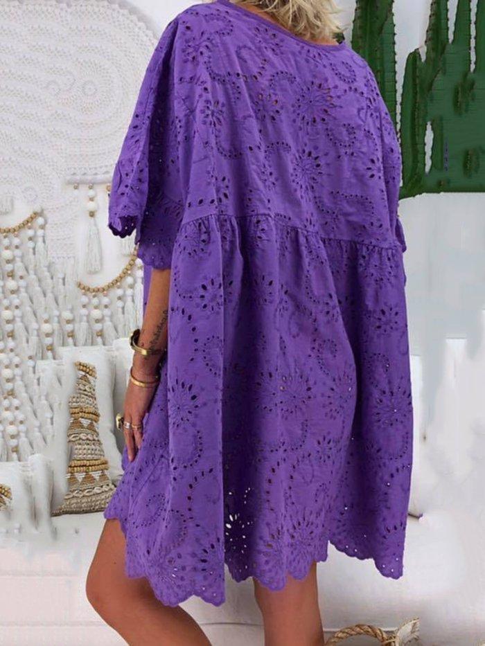 Plus Size V Neck Women Cotton-Blend Plain Dresses