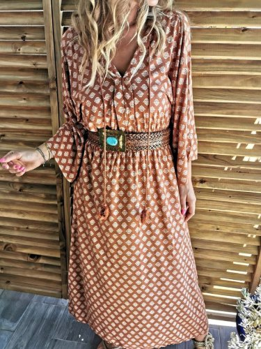 Casual Floral-Print V Neck Dresses