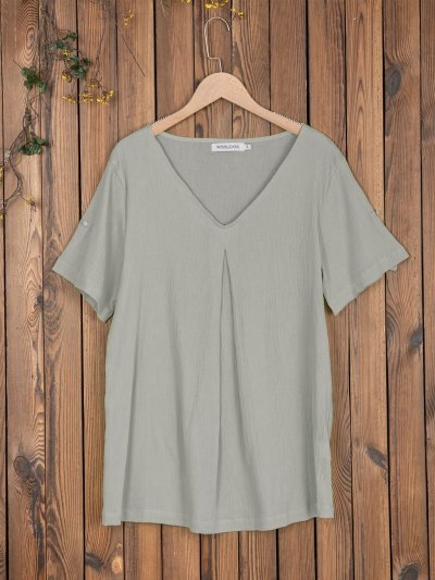 Women V Neck Casual Loose Tops Tunic
