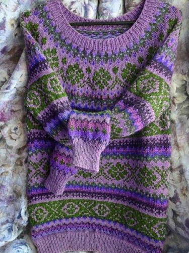 Color-Block Tribal Crew Neck Long Sleeve Women's Sweaters