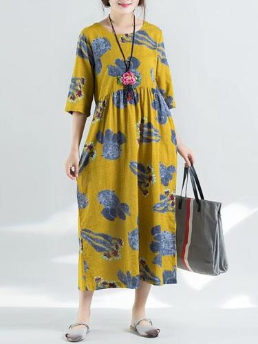 Floral Printed Short Sleeve Cotton&Linen Maxi Dress