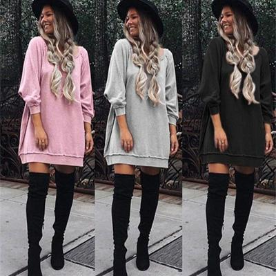 Shift Cowl Neck Casual Solid Fall Dress