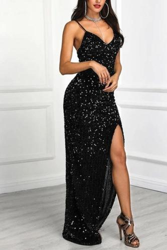 Fashion Pure Colour V Neck Sling Evening Dress