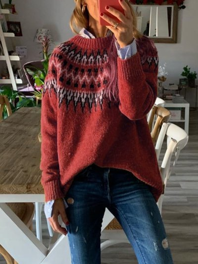 Tribal Printed Long Sleeve Casual Sweaters